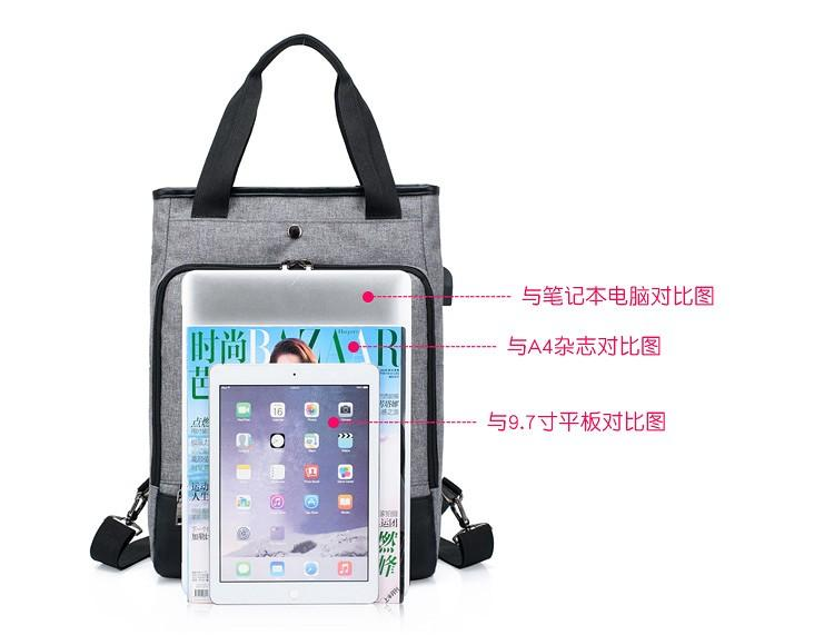 【Q夫妻】Backpack 韓版 連接USB充電接口 手提雙肩兩用包 後背包 電腦包 藍色 #B1002-3