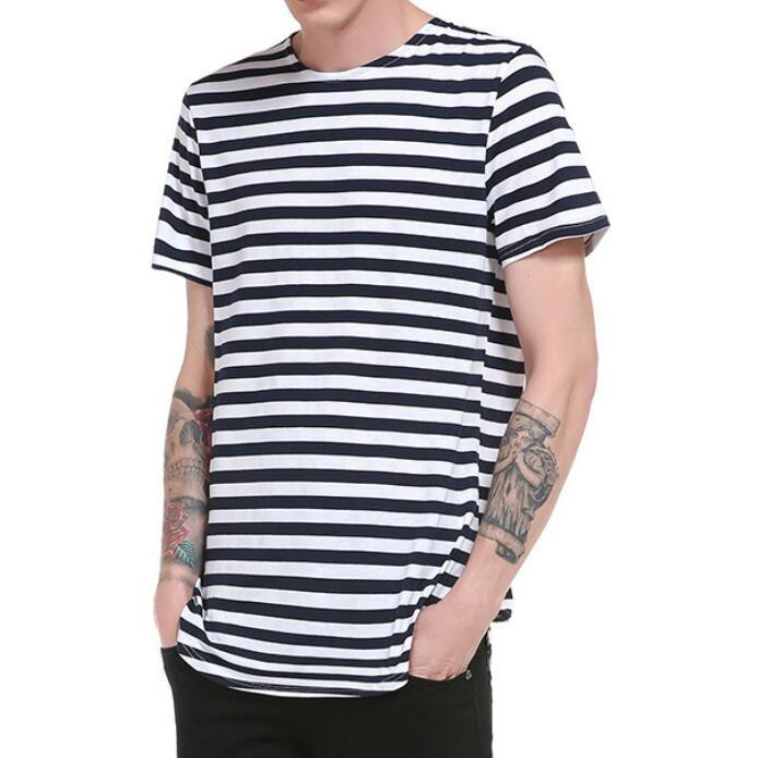Striped Printed Tops O-neck Short Sleeve Casual Cotton T-shirt Streetwear