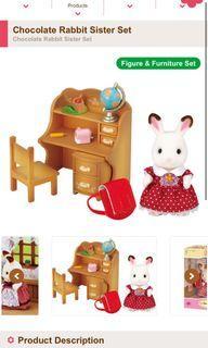 sylvanian families rabbit study set
