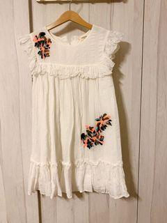 100% Authentic Mango Kids White Bohemian with Floral Embroidery Dress
