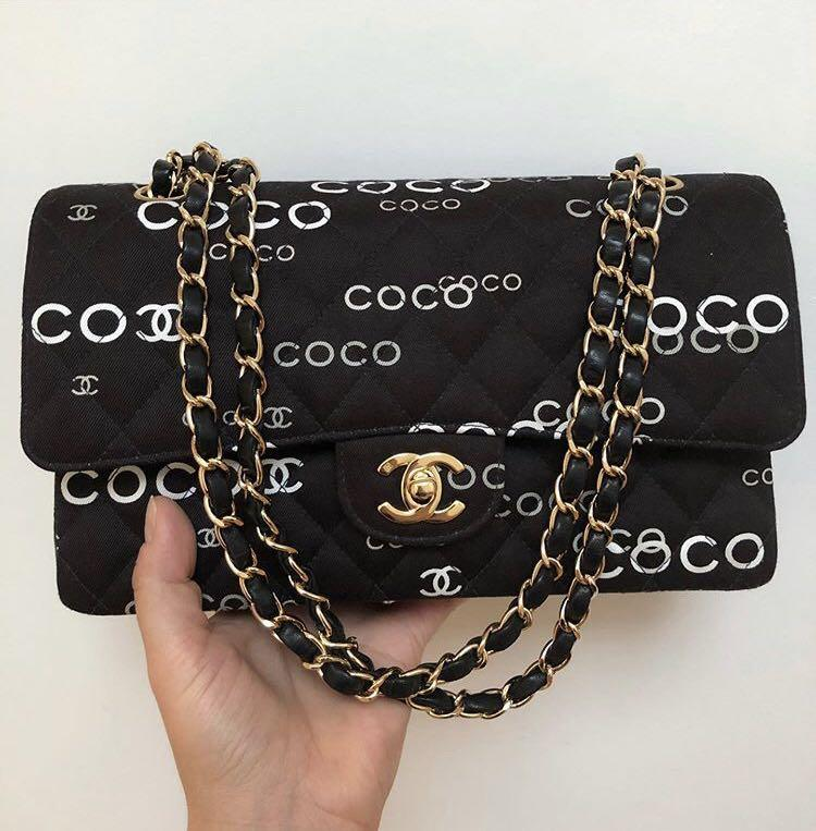 Chanel Medium Flap canvas coco logo bag