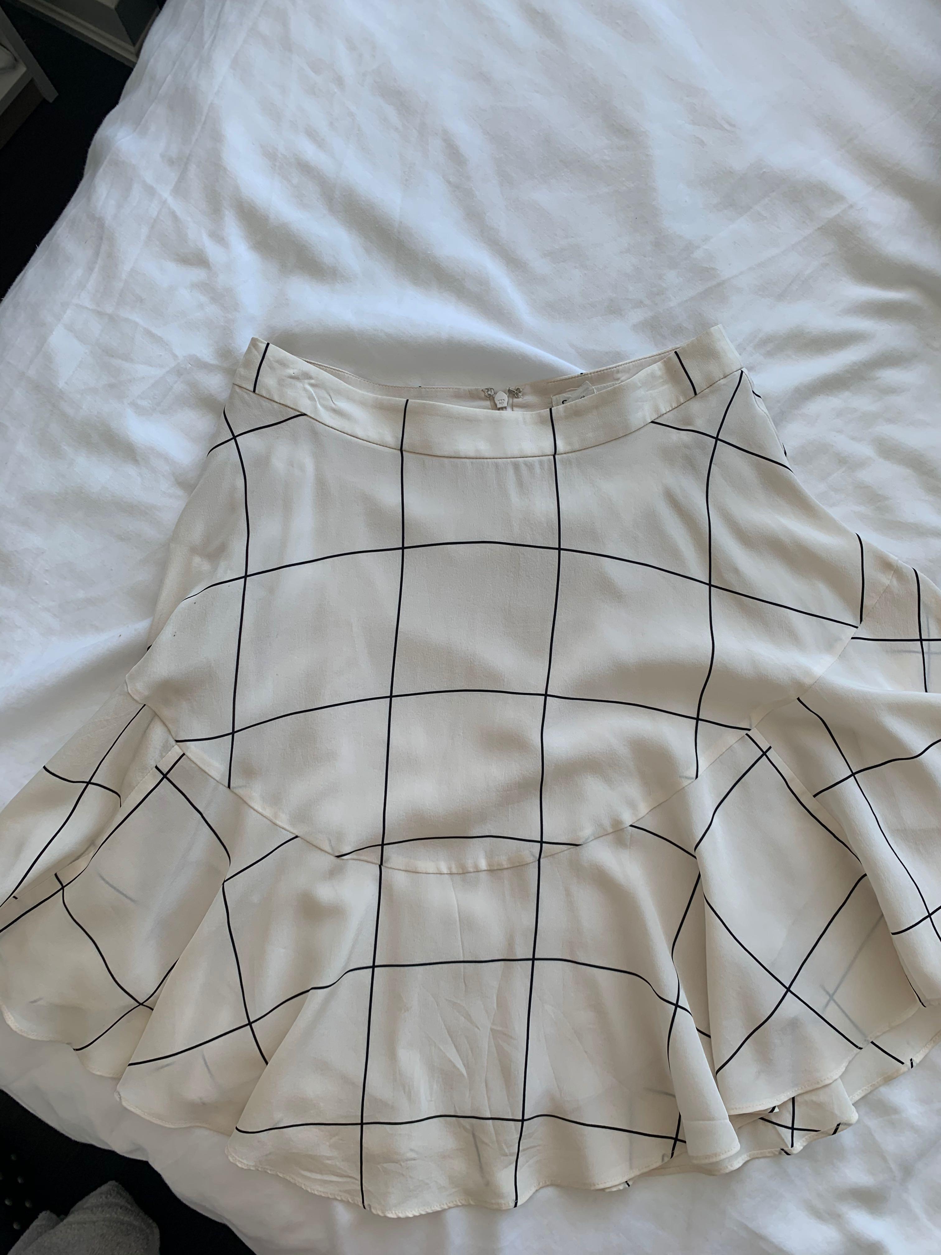 CLUB MONACO window pane silk skirt, 00
