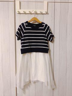 100% Authentic COMME CA ISM Blue and White Striped Dress