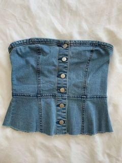 FOREVER 21 NWT denim bustier top, size S
