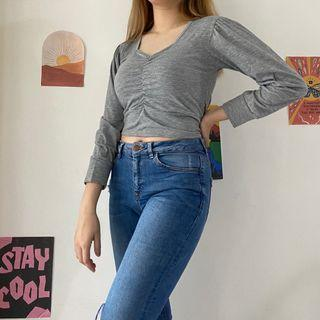 Korean Puff Sleeves Square Neck Top