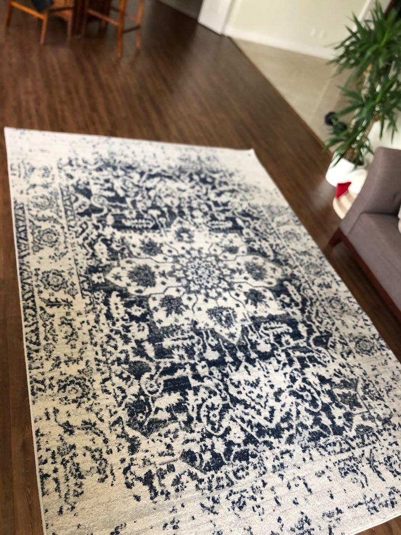 Wayfair Katie rug - blue and white