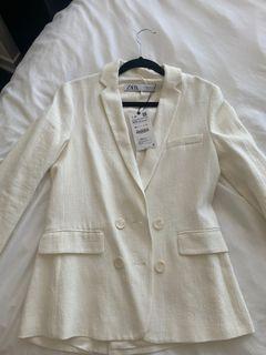 ZARA white linen blazer NWT XS