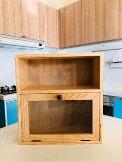 松木 置物櫃 置物架 收納調味料櫃 玻璃門