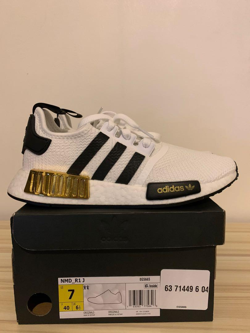 adidas nmd r1 white and gold