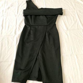 Cold Shoulder Dress with Slit Detail