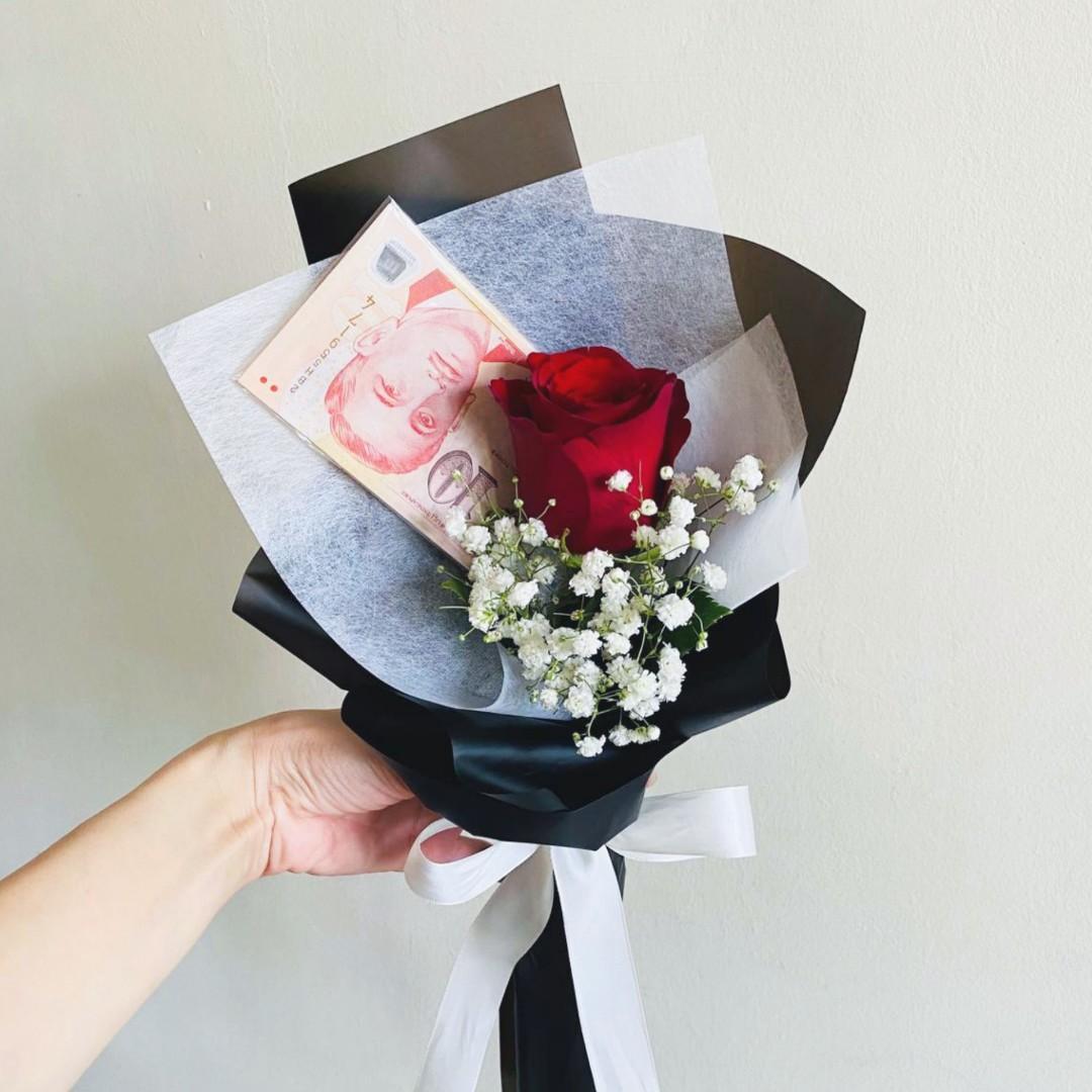 Fresh Rose Money Flower Bouquet For Celebration Birthday Lover Gardening Flowers Bouquets On Carousell