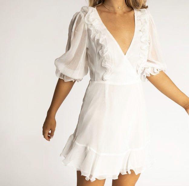 White frill dress size 8