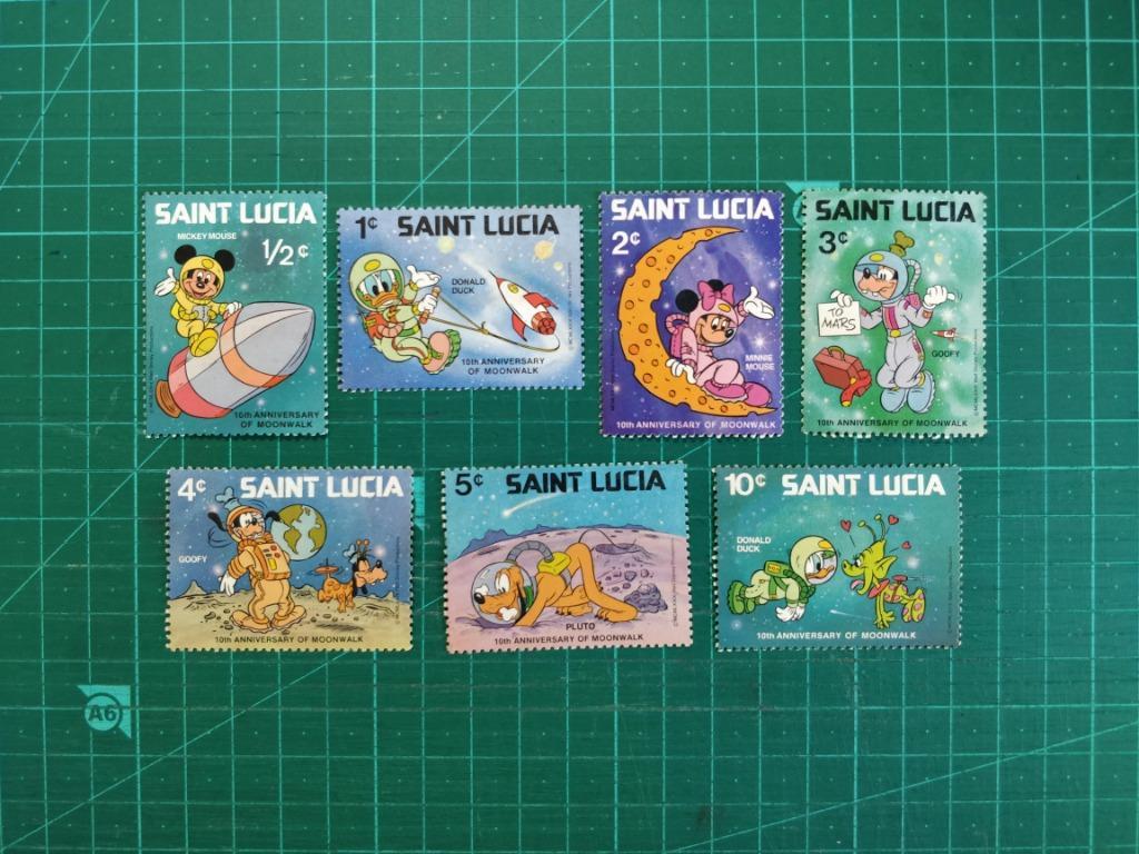 [均一價$10]1979 聖露西亞 人類月球漫步十周年---迪士尼郵票 新票七枚