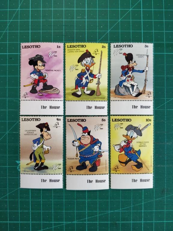 [均一價$10]1989 萊索托 '89法國郵展---迪士尼郵票 新票六枚