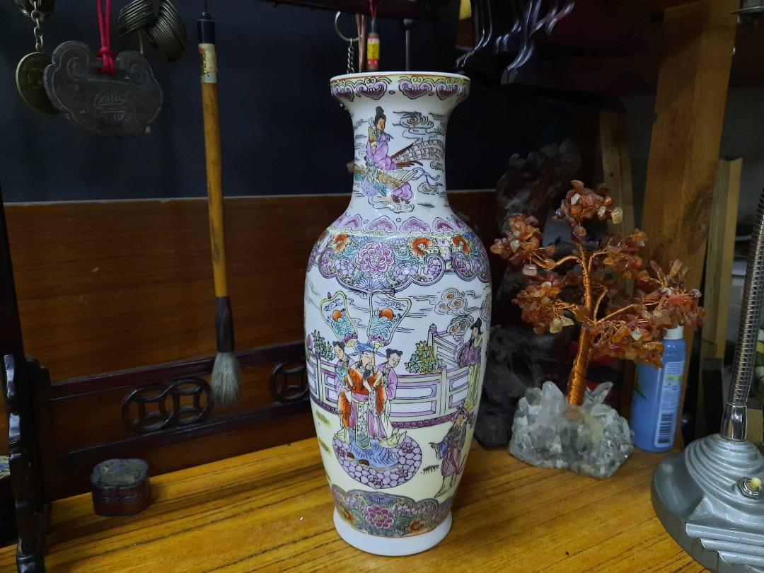 粉彩人物花瓶~12吋