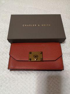 Charles & Keith Metallic Push Lock Long Wallet with chain