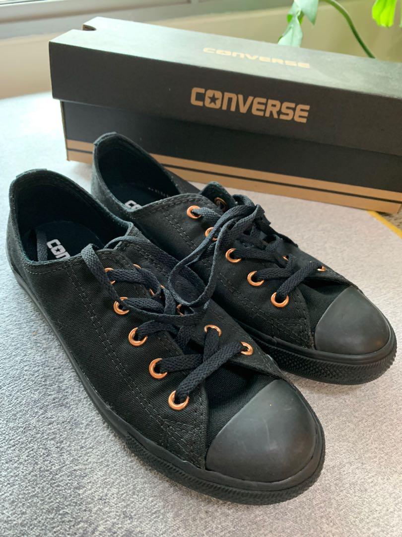 Converse black rose gold sneaker size