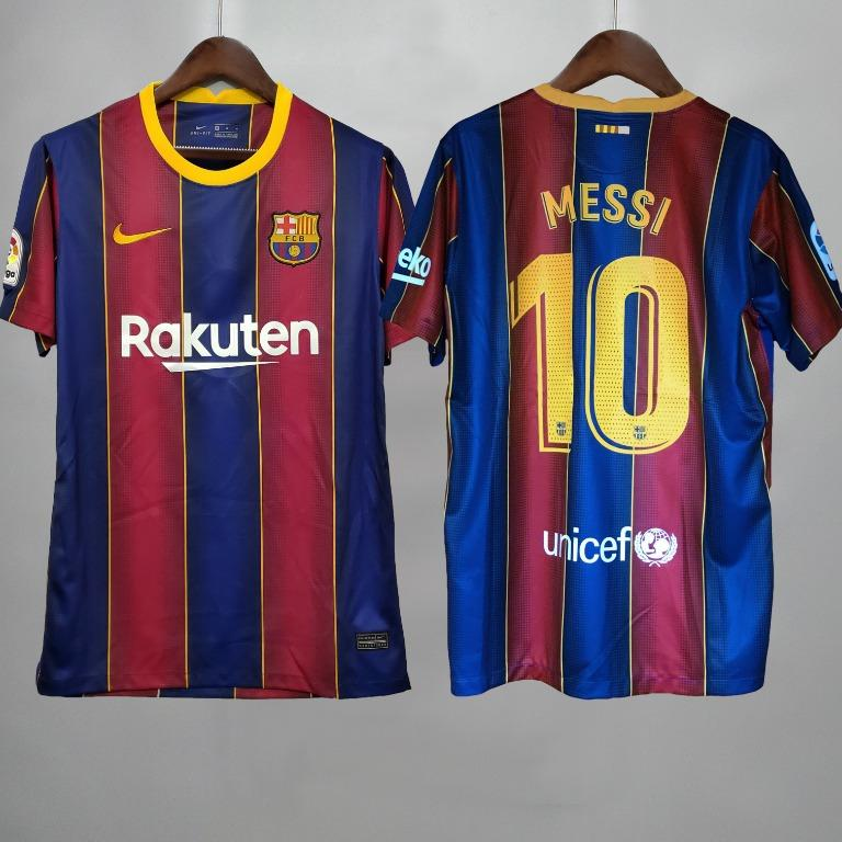 Fc Barcelona 2020 2021 Jersey With Messi Print Sports Athletic Sports Clothing On Carousell