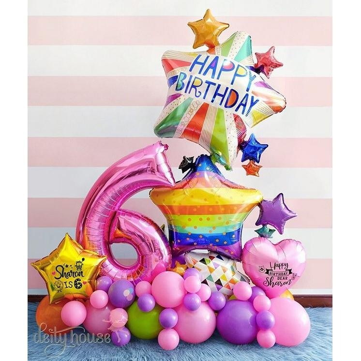 Multi Birthday Bright Star Giant Balloon Bouquet