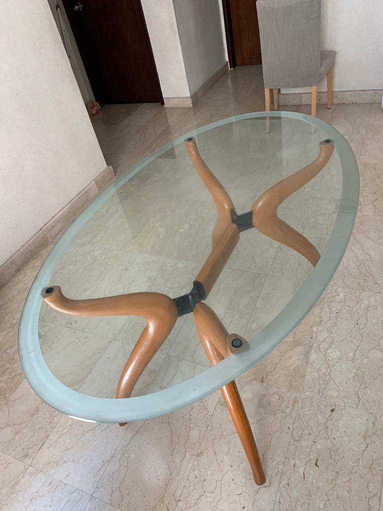 Oval glass dining table, Furniture & Home Living, Furniture ...