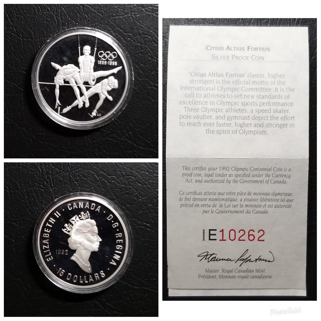 1992 精裝加拿大奧運百週年紀念1安士純銀幣連證書_更高更強更快,直徑40mm,重33.63克,0.925純銀