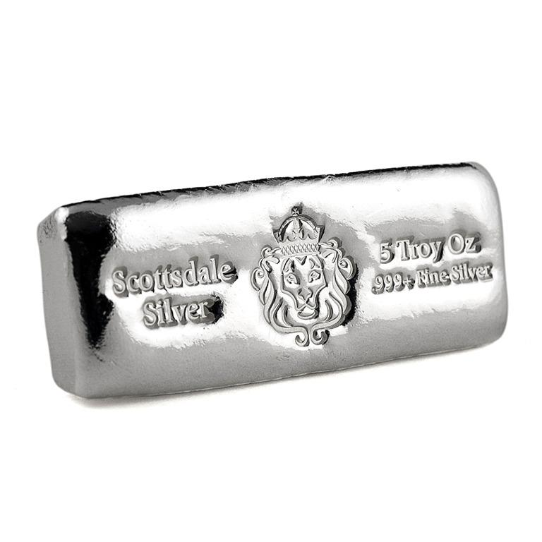 5 Troy Oz Fine Silver 999 Scottsdale Cast bar