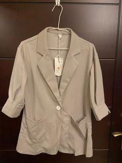 成套休閒西裝外套與鬆緊八分褲(灰色/粉色兩色)