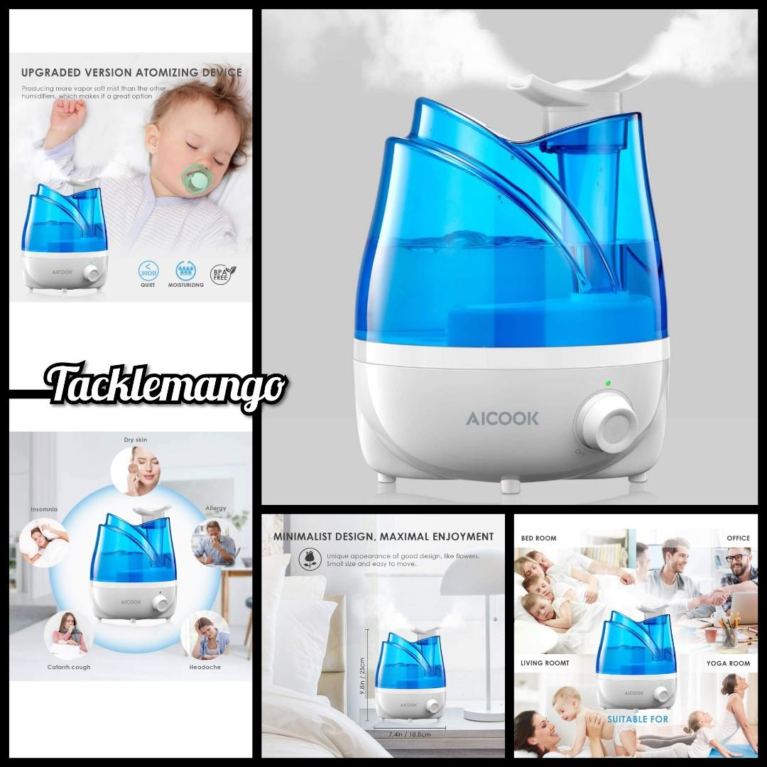 Aicook Humidifier Ultrasonic 30db Cool Mist Humidifiers With Exclusive 360 Rotatable Double Nozzles Quiet For Bedroom Babyroom Liveroom 24 Hours Continuous Use Automatic Waterless Shut Off Electronics Others On Carousell