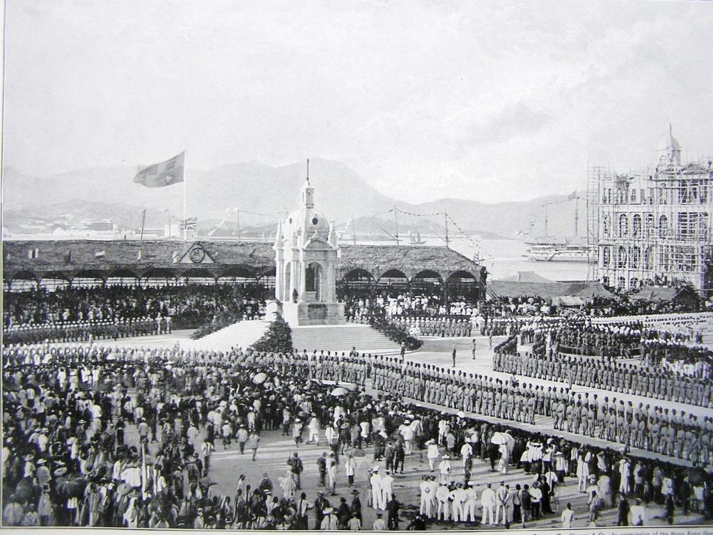 British Hong Kong - 1896年英屬香港慶祝英女皇維多利亞登基鑽禧紀念於中區舉行女皇銅像揭幕儀式(摘自同年英報Graphic畫報, 保真)