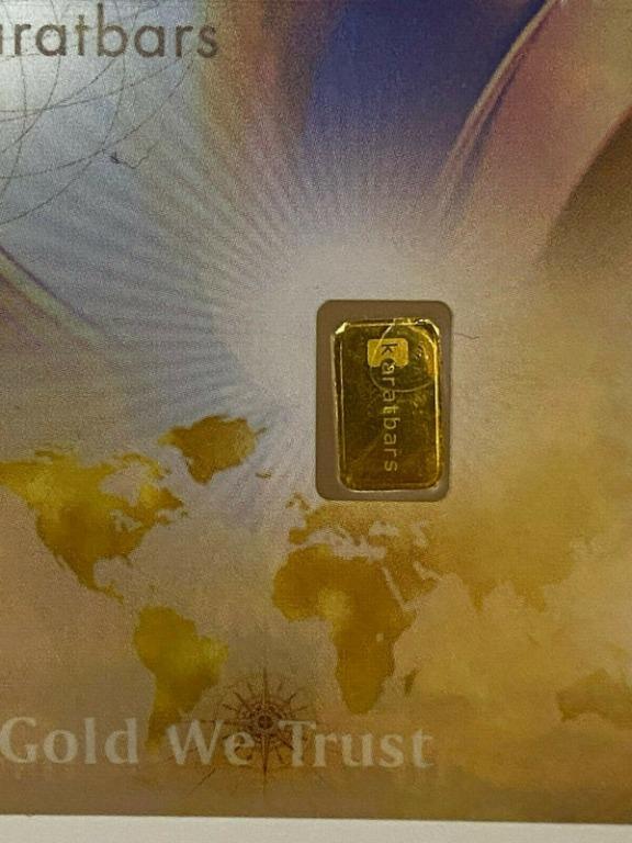 KaratPay CashGold Banknote with a 0.1 Gram 9999 Gold bar