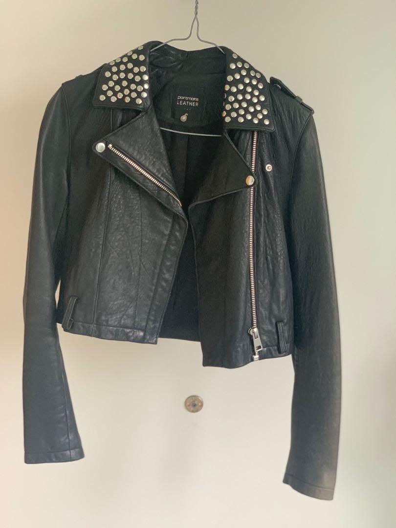 Studded leather jacket (genuine leather)