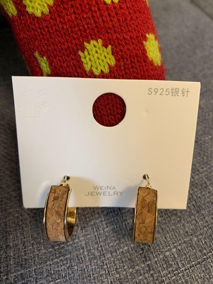 貼皮耳環(925銀針)