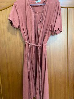 🇰🇷 棉麻綁帶度假洋裝