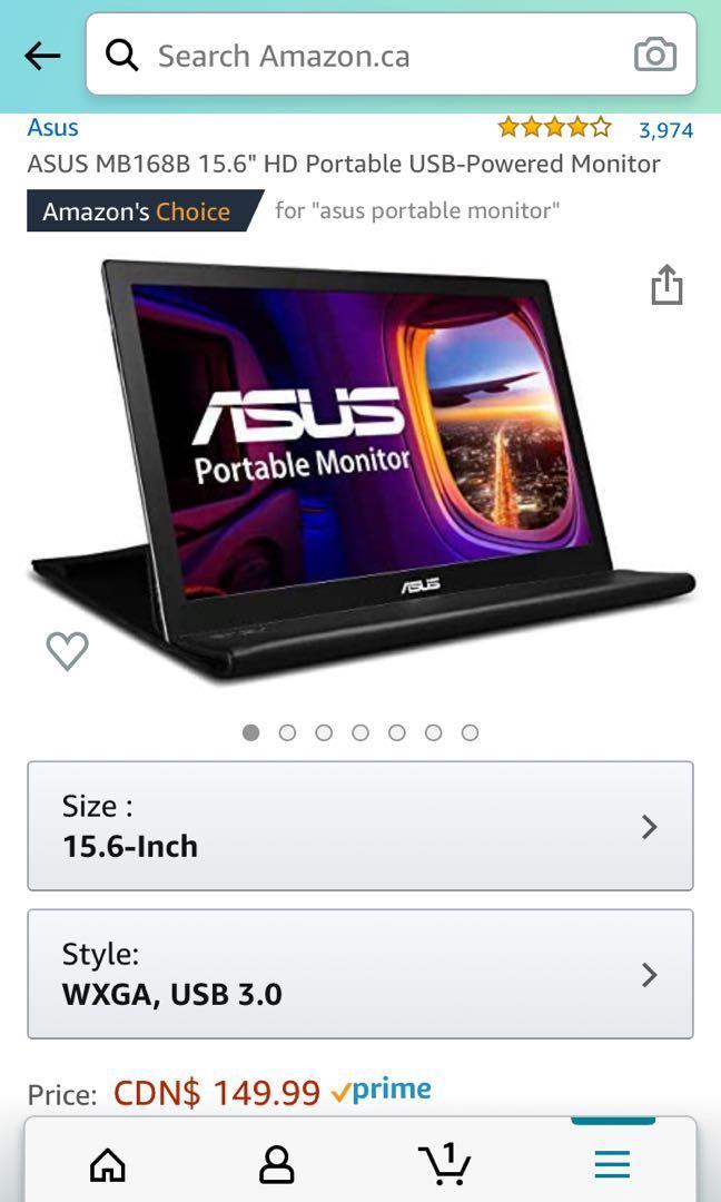 ASUS MB168B HD Portable USB-Powered Monitor(15.6) HD