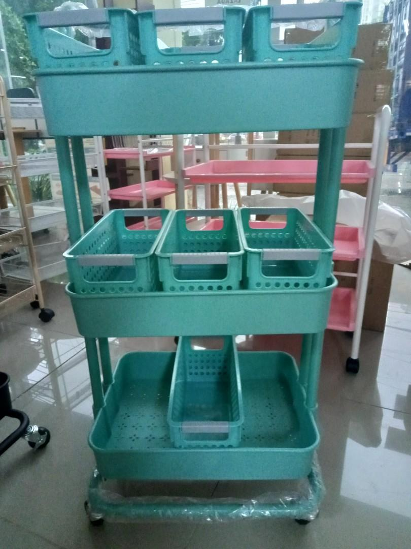 Baby Utility Cart Rolling 3 Tier Storage Shelve Home Furniture Furniture Fixtures Shelves Drawers On Carousell