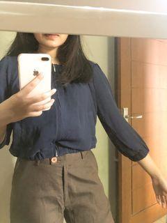 blouse crop blue black preloved thrift