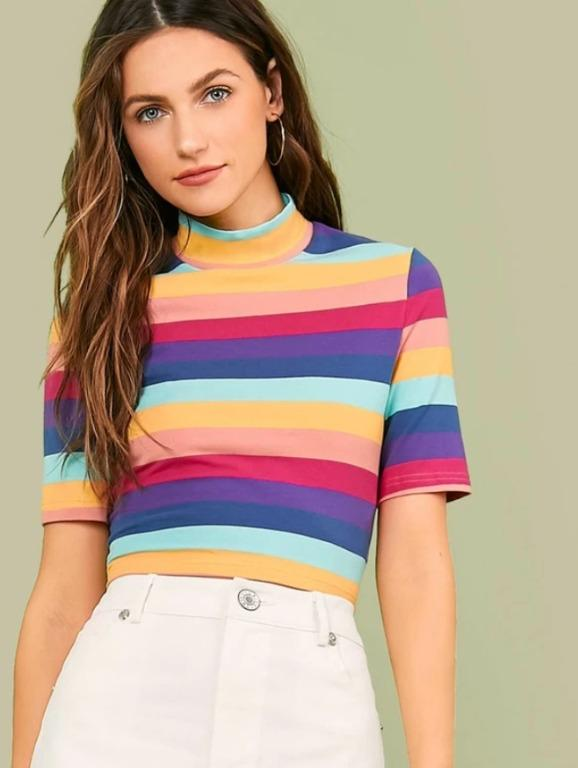 BNWT Mock-Neck Colorful Striped Top