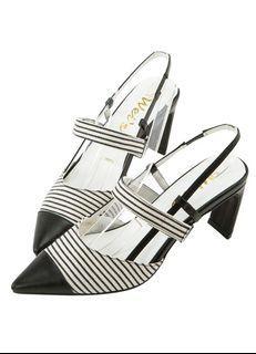 grace gift 聯名拼接尖頭條帶後空設計跟鞋-條紋38 gracegift 唐葳 聯名 涼鞋 weiwei
