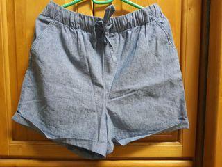 Lativ棉麻短褲-藍