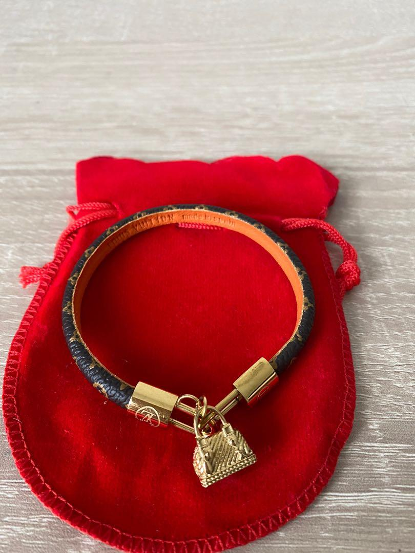 LV inspired leather bracelet