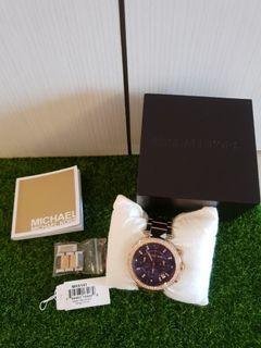 MICHAEL KORS金銀雙色雙圈水鑽不銹鋼腕錶