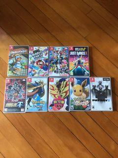 Switch Games (Mario Kart, Party, 大亂,12switch, overcooked, 劍,盾,Just Dance, 伊貝,機器人大戰)