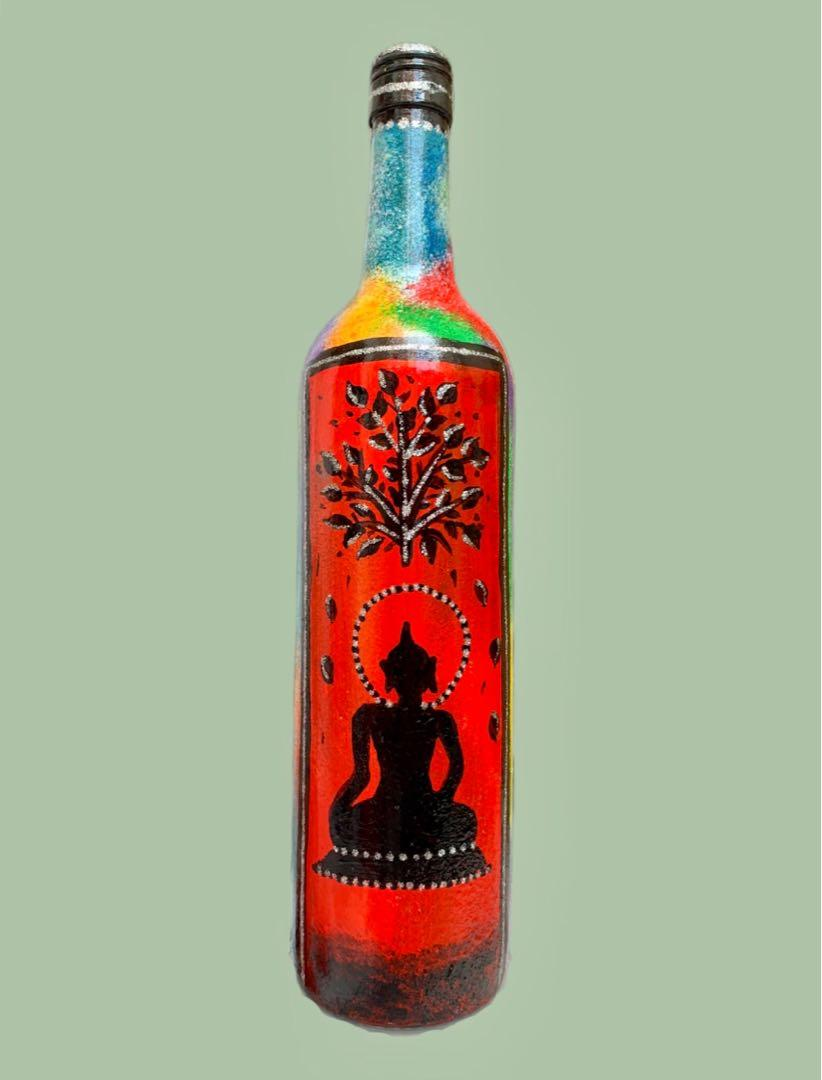 Buddha Bottle Art Acrylic Hand Painting Vase Design Craft Art Prints On Carousell