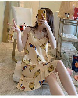 Cute 100% Cotton Nightdress with chest pad/ Summer loose dress pajamas