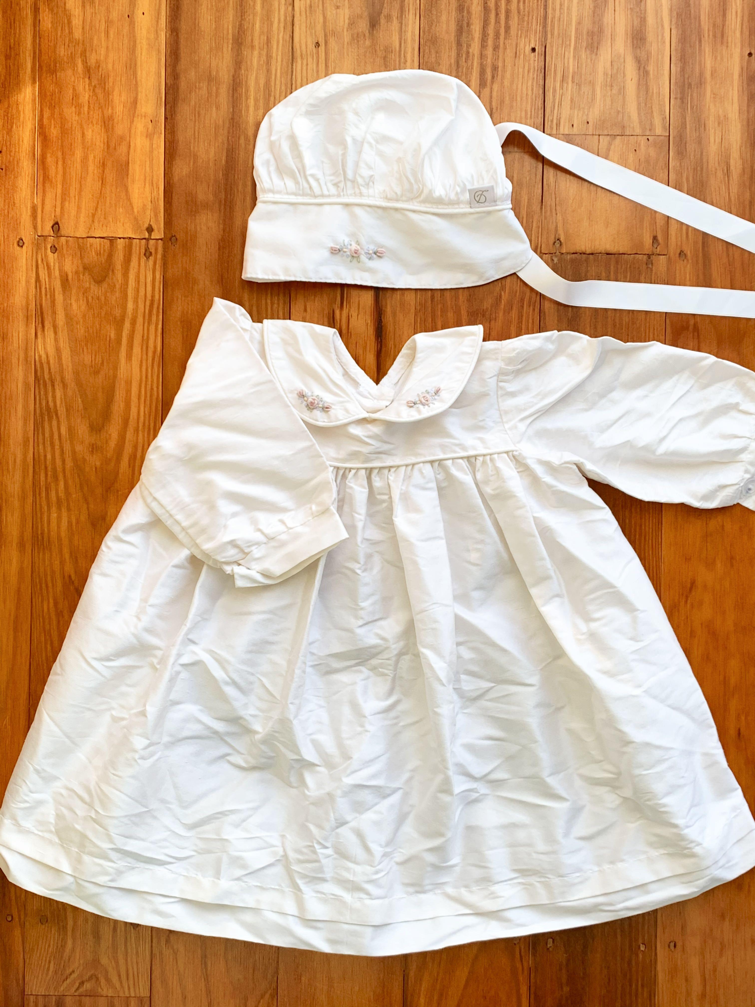 Dimples Ivory Silk Dress + Infant Bonnet