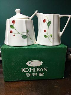 全新KOKAN咖啡館 六角糖罐 奶罐 湯匙 三件組