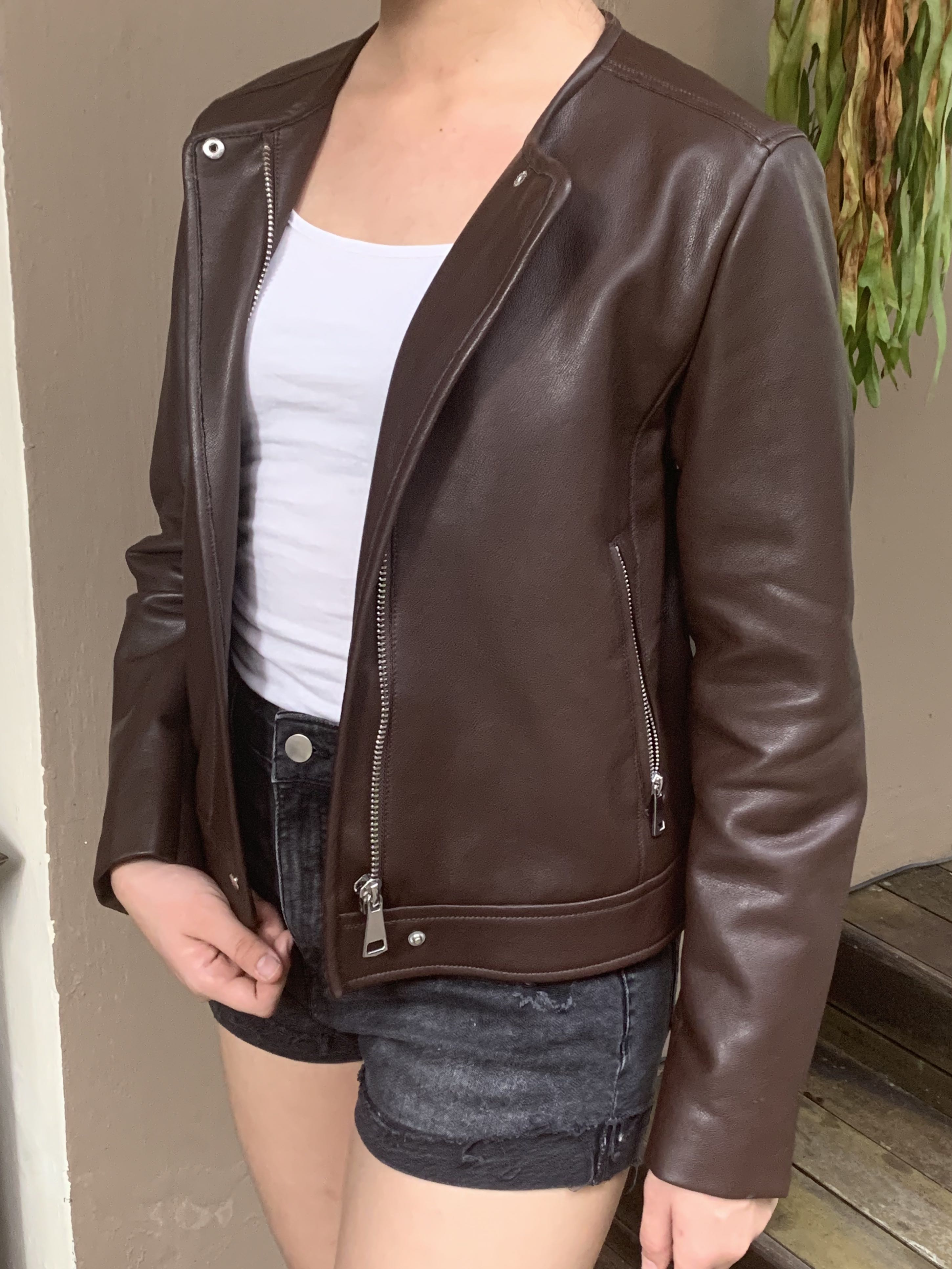 Mango Biker Jacket Brown Women S Fashion Clothes Others On Carousell