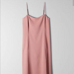 NWT Aritzia Babaton Slit Slip Dress in Rose Mauve Small