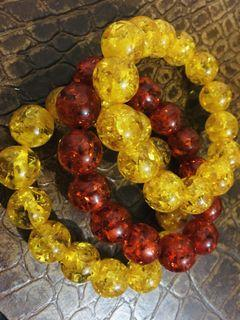 Set of 3 Faux-Amber Bracelets (2 yellow, 1 red)