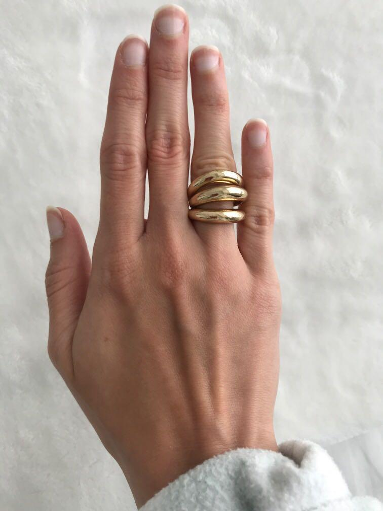 Set of 3 vintage chunky ring